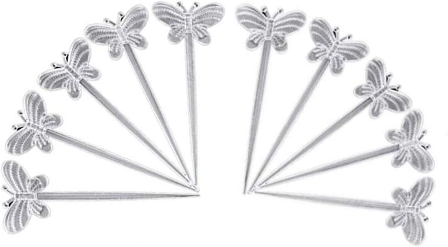 200 Pack of Transparent Butterfly Shape Fruit Toothpick Plastic Cocktail Picks 3.5