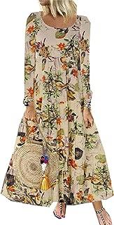 neveraway Women's Plus-Size Floral Print Vintage Round Neck Full Length Dress