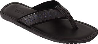 VONZO Men Black Slip On Formal Casual Slipper Flip Flops