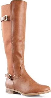 LUSTHAVE Women's Megan Buckle Strechy Knee High Riding Boots