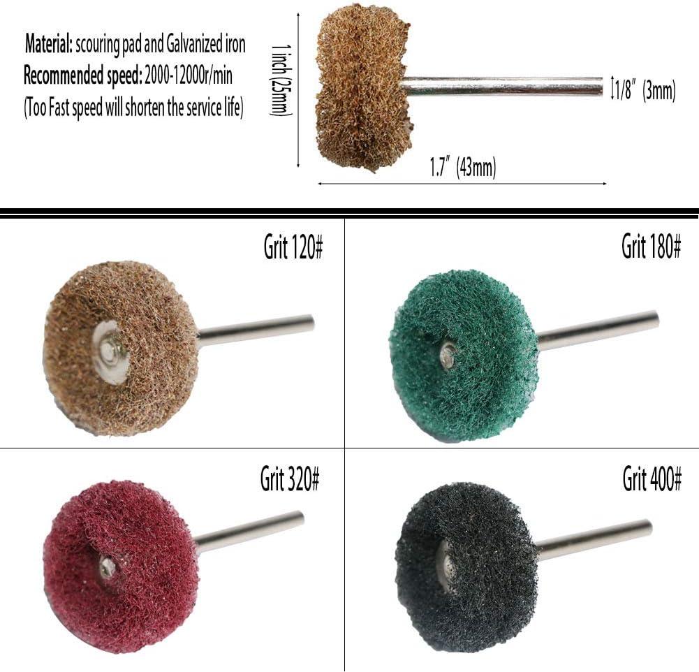25mm Abrasive Buffing Wheel Brush Polishing Pad Rotary Tool Set 300 Grit 50Pcs