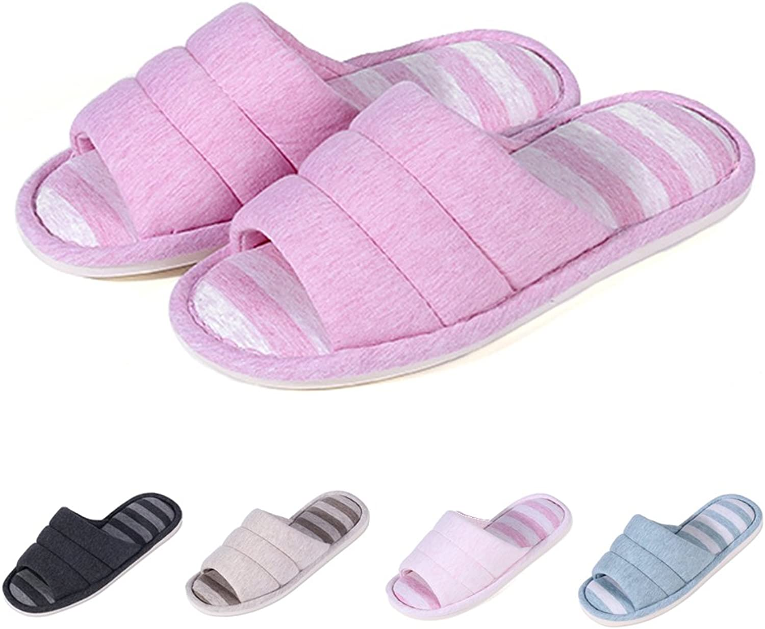 Shevalues Women's Soft Indoor Slippers Open Toe Cotton Memory Foam Slip on Home shoes House Slippers DP-L Dark Pink