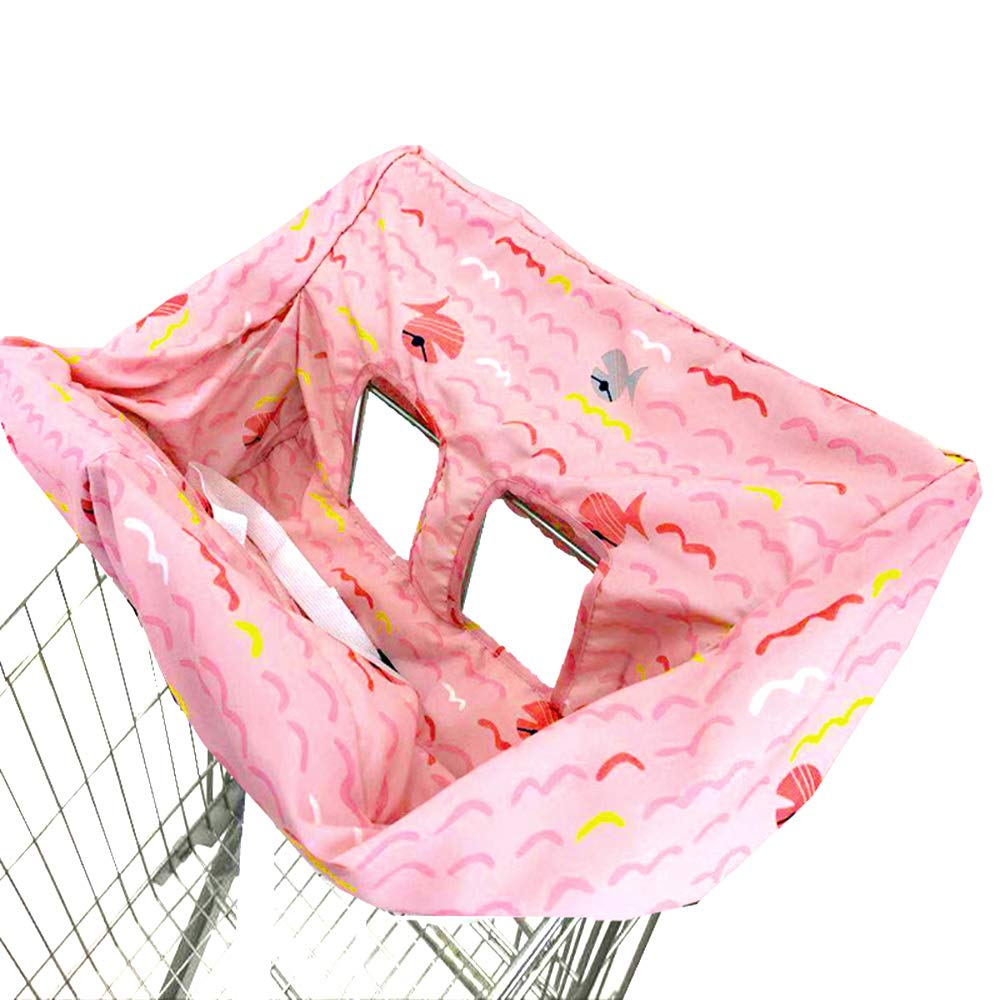 Portable Shopping Cart Cover | High Chair and Grocery Cart Covers for Babies, Kids, Infants & Toddlers ✮ Includes Free Carry Bag ✮ (Simple Pink Fish)
