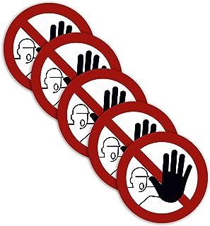 5 Stück XXL Zutritt verboten Aufkleber Durchmesser 21cm Sticker kein Durchgang für unbefugte Personen verboten Verbotszeichen mit UV Schutz für Außen-und Innenbereich von STROBO