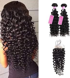 ISEE Hair 8A Grade Brazilian Deep Wave Virgin Hair Brazilian Curly Human Hair Weave 3 Bundles With 4