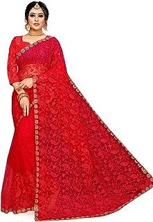KD Fabulous Women's Net Saree With Unstitched Blouse Piece
