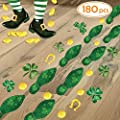 Ivenf St. Patrick's Day Decorations Leprechaun Footprints Floor Stickers, Shamrock Gold Coin Stickers for Kids School Home Office, St. Patricks Day Accessories Party Supplies Gifts, 6 Sheets 180 pcs