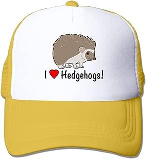 Mxdjsohng I Love Hedgehogs Unisex Mesh Hat Baseball Caps Grid Hat Adjustable Trucker Cap Headwear Bandanas