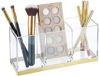 mDesign Pudełko na kosmetyki z 3 przegródkami – Praktyczny organizer na kosmetyki – Plastikowe pudełko na pędzle do makija...
