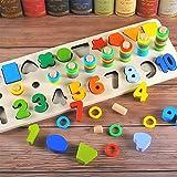 ACHICOO Multicolor 3 en 1 Forma Digital Paired Junta Cognitiva Puzzle Juguetes para Niños Regalo Educativo Eid Regalos para Niños