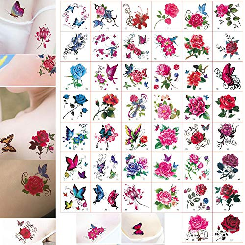 52 Sheet Floral Temporary Tattoos Stickers Water Transfer Floral Butterfly Fake Temporary Tattoo Paper Body Art for Women Kids (Tattoos SET A)