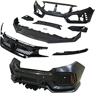 IKON MOTORSPORTS Bumper + Lip+ Grille Compatible With 2016-2020 Honda Civic | TR Black PP Injection & ABS 10th Gen Hood Protection Boykits Body kit