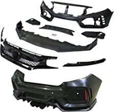 IKON MOTORSPORTS Bumper + Lip+ Grille Compatible With 2016-2020 Honda Civic   TR Black PP Injection & ABS 10th Gen Hood Protection Boykits Body kit