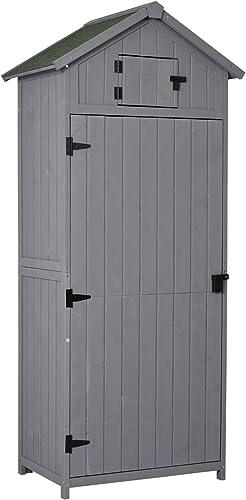 Outsunny Armoire abri de Jardin Remise pour Outils 3 étagères 2 Porte loquets Toit Pente bitumé 77L x 54l x 179H cm S...