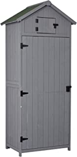 Outsunny Armoire abri de Jardin Remise pour Outils 3 étagères 2 Porte loquets Toit Pente bitumé 77L x 54l x 179H cm Sapin ...