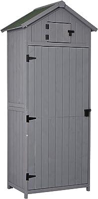 Outsunny Armoire abri de Jardin Remise pour Outils 3 étagères 2 Porte loquets Toit Pente bitumé 77L x 54l x 179H cm Sapin traité Gris