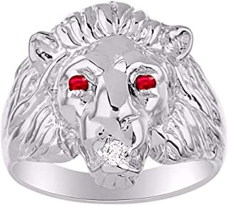 RYLOS Amazing Conversation Starter Set with Genuine Diamond & Gorgeous Precious Ruby, Sapphire or Emerald Lion Head Ring Set in Sterling Silver.925