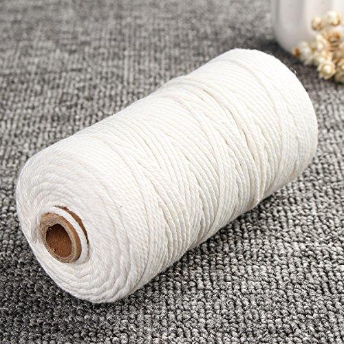 EsportsMJJ 2mm x 200m Natuurlijke Beige Wit Gedraaid 100% Puur Katoen Koord Touw DIY Ambachten Macrame String, Kleur: wit, 1
