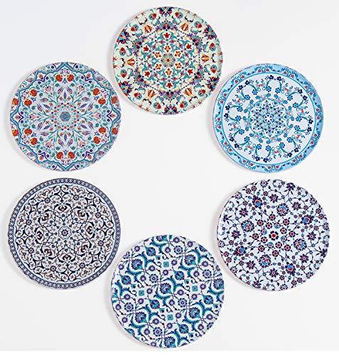 BABEL ARTESANIA Posavasos (Set de 6) - Regalos originales decorativos para café, cocina, uno drink, taza, vino, tazas, vasos, cristal- juego de mesas, base corcho para mesa de madera (Sevilla)