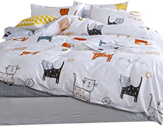 OTOB Cartoon Cats Duvet Cover Sets Full Queen for Kid White Grey 100% Cotton Reversible 3 Pieces Kid Girls Boys Bedding Sets Duvet Cover with Pillowcases Child Bedding Sets, No Quilt