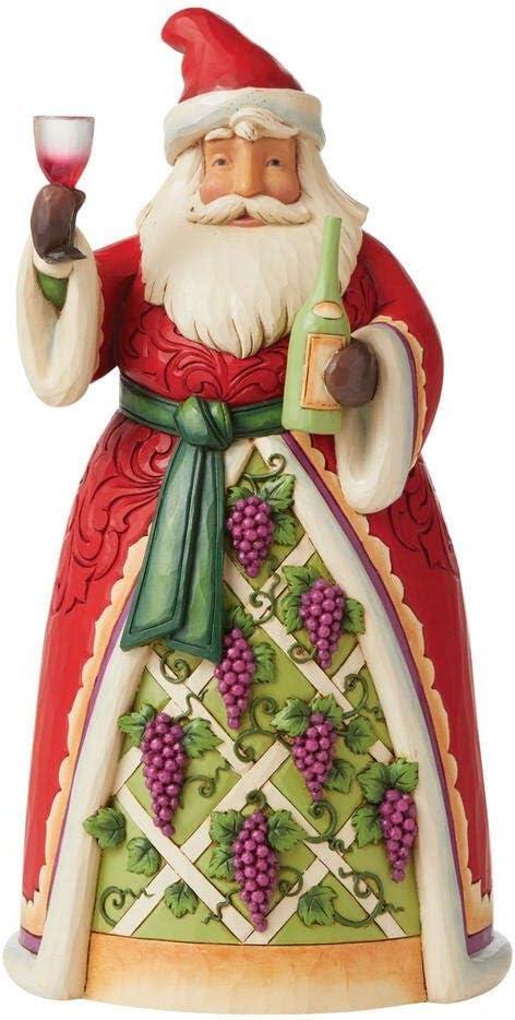 Enesco Kansas City Mall Jim Shore Heartwood Creek Santa Figurine Grapes Wine and Topics on TV