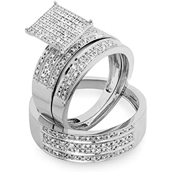 Sterling Silver ctw Dazzlingrock Collection 0.48 Carat Round White Diamond Mens and Womens Engagement Ring Trio Bridal Set