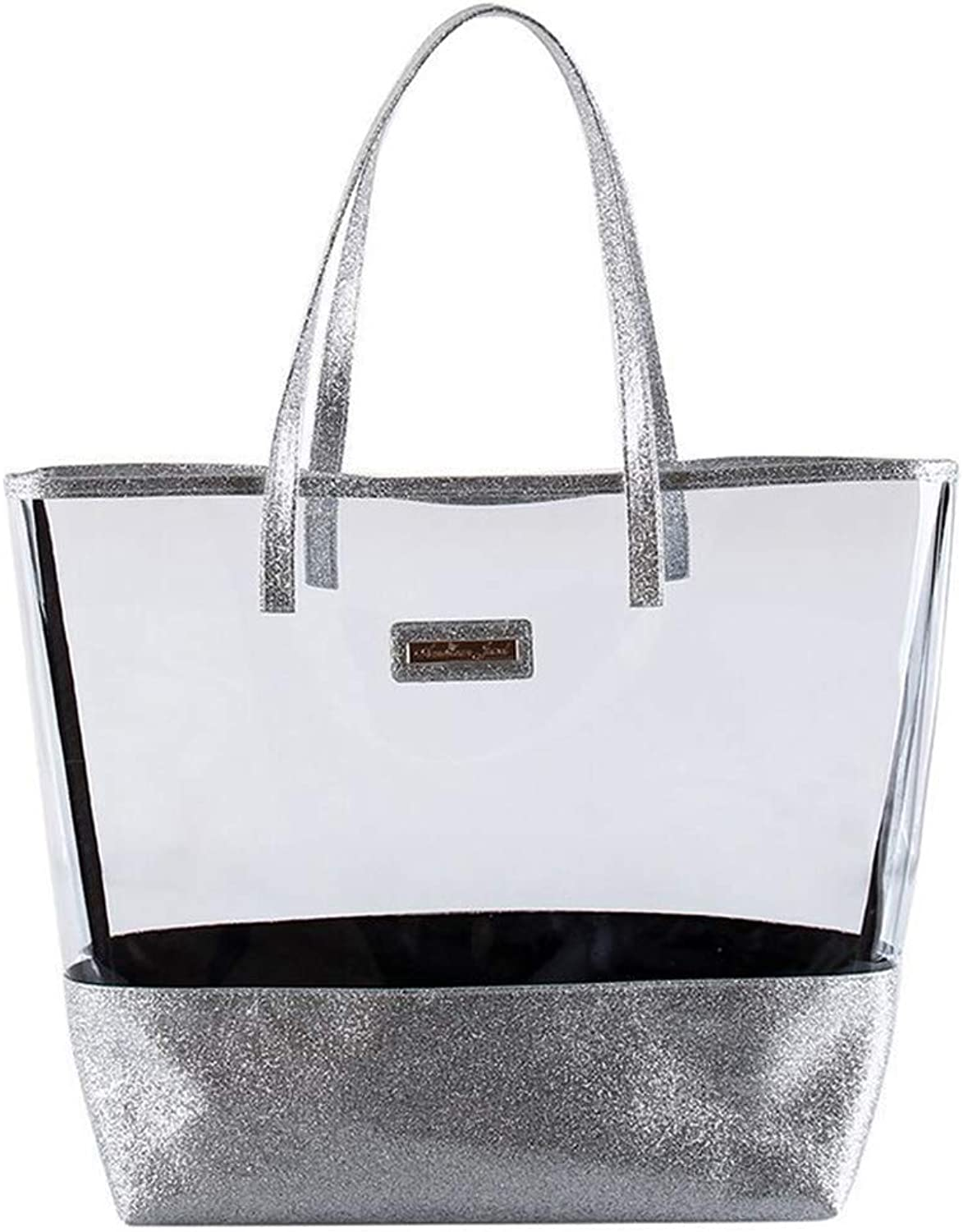 Glitter Tote Beach Bag Purse  Clear Vinyl Shoulder Bag with Glitter Accents  Silver  Girls & Teen Accessories  DressUp