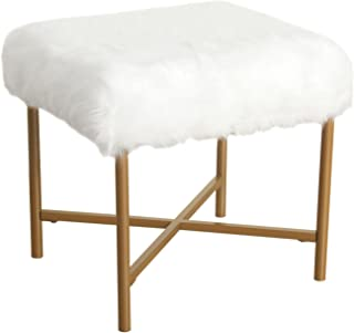 HomePop Faux Fur Square Stool with Metal Legs, White