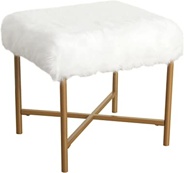 HomePop Faux Fur Square Stool with Metal Legs