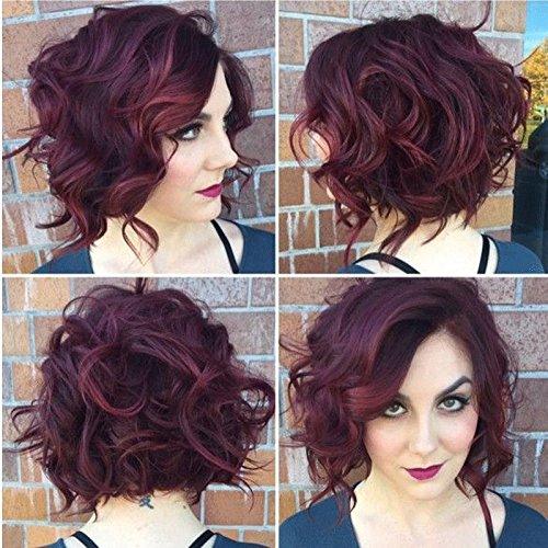 Européenne et Américaine vin rouge perruque schrägen Pony perruque cheveux court paragraphe tempérament Mode en cheveux/cheveux de l'homme