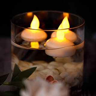 Waterproof Flameless Floating Candles,Floating Tealights,12 Pack Warm Amber Battery Flickering LED Tea Lights Candles - Centerpiece,Wedding,Party,Pool & SPA