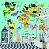 murales decorativos pared Pegatina Mural Autoadhesivo Panorama Póster Póster Pared Cuadros Modernos no tejido Póster Animales distribución mapa verde Extraíble para Hogar Cocina Salón Moderna TV Decor