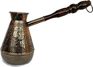 Cezve Thickest Solid Copper Coffee Pot Turkish Greek Arabic Coffee Cezve Ibrik Briki Coffee Maker Turka with Wooden Handle...