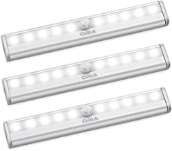 New Version AMIR Motion Sensor Lights, 10-LED DIY Stick-on Anywhere Battery Operated Portable Wireless Cabinet Night/Stairs/Step/Closet Light Bar with Magnetic Strip (White, 3 Pack)