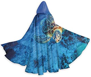 Adult Cape Cloak Sea Turtle in Deep Blue Waters Unisex Magic Christmas Halloween Witch Party Hooded Vampires Wedding Cape Cloak