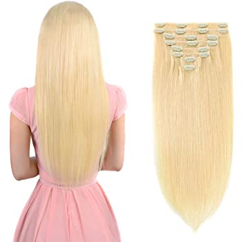 "Real Clip in Hair Extensions Blonde 8 Pieces - Premium Women Straight Double Weft Thick Remy Hair Extensions Clip in on Human Hair for Short Hair (18"" / 18 inch, #613, 112 grams/3.9 Oz)"