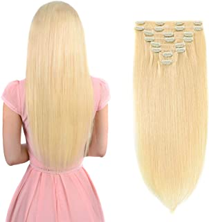 Real Clip in Hair Extensions Blonde 8 Pieces - Premium Women Straight Double Weft Thick Remy Hair Extensions Clip in on Human Hair for Long Hair (20