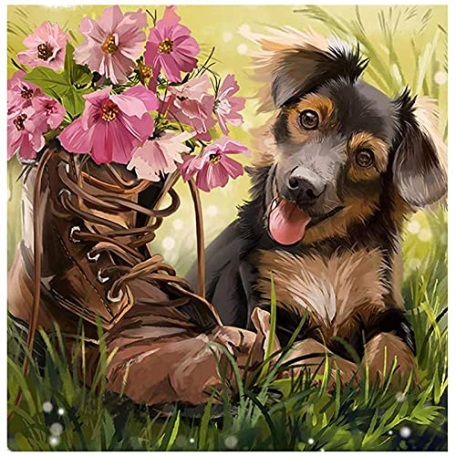 DIY 5D Diamond Painting Kit ,German Shepherd Boots Meadow Puppy Flowers Painting DIY Embroidery Cross Stitch Painting for Home Wall Decor