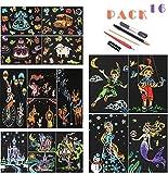 OOFAJ Scratch Art for Kids, Scratch Paper Rainbow Painting Sketch Pads DIY Art Craft Night View Scratchboard con 5 Herramientas, Scratch Art Paper, 16X Scratch Paintings, 20 * 14Cm
