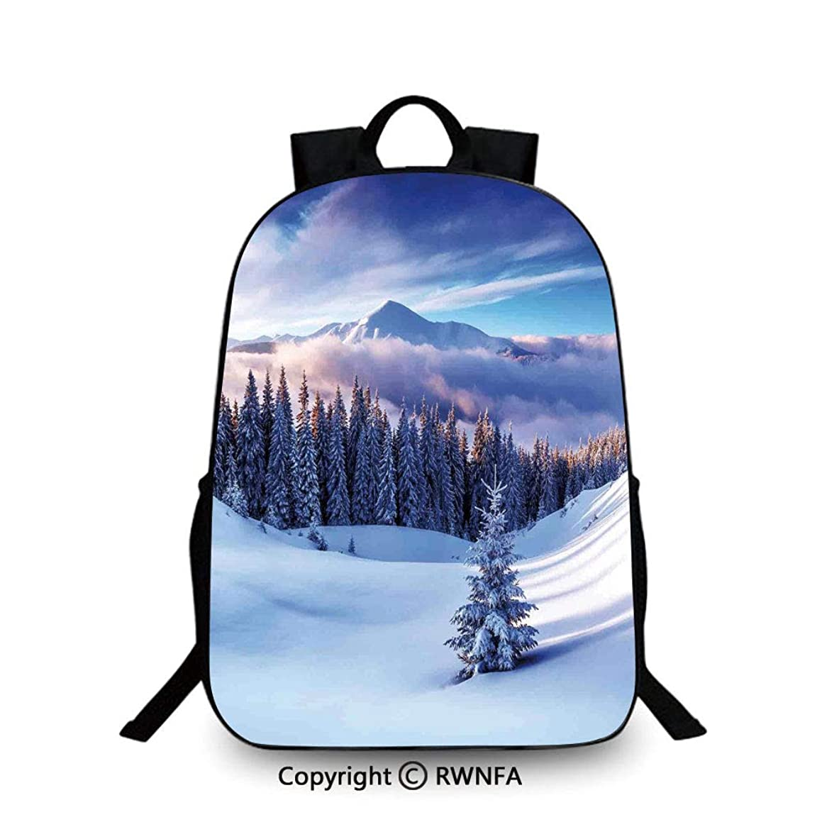 School Backpack,Surreal Winter Scenery with High Mountain Peaks and Snowy Pine Trees Travel College School Bags Blue White