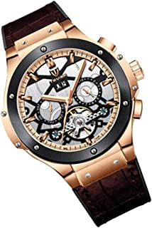 IPOTCH Classic Automatic Mechanical Watch Business Wristwatch with Genuine Leather Strap Watch for Men, 49mm Dial