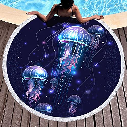 Toalla De Playa Redonda De La Serie De Medusas De Impresión Digital 3D, Alfombra De Playa A Prueba De Arena De Secado Rápido, Manta De Playa con Borlas De Microfibra 150 * 150cm