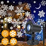NUÜR Rotating Snowflake Christmas Lights Projector for Festive Holiday Décor, Waterproof, Realistic Snowflake Pattern, Plug-in, Wide Illumination Area, Outdoor/Indoor