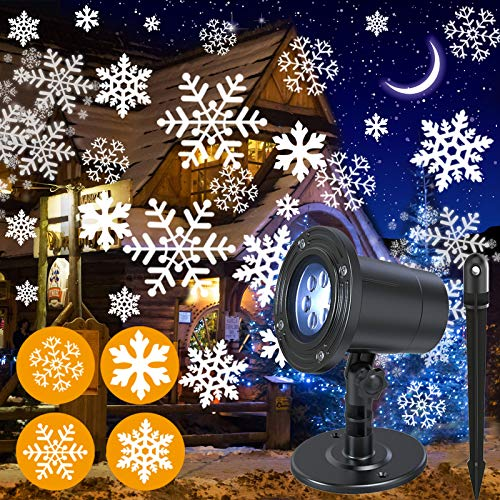 NUÜR Rotating Snowflake Christmas Lights Projector for Festive Holiday Décor