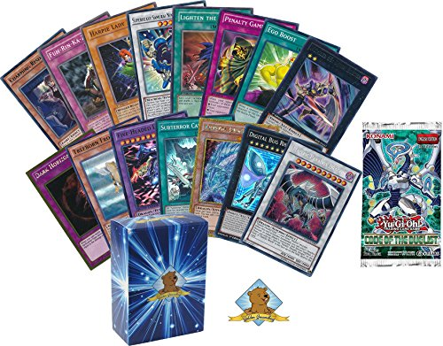 Yugioh 100 Card Lot - 10 Rares Or Holos - 1 Random Yugioh Booster Pack! - Rise of The Duelist Legendary Collection Kaiba Box Set Booster Pack - Includes Golden Groundhog Treasure Chest Storage Box