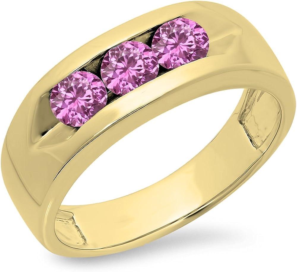 DazzlingRock Collection 1,10Carat (quilate) 14K Oro Redondo Rosa Sapphire Juego de Canal Hombre 3Piedra Aniversario Boda Banda 1CT