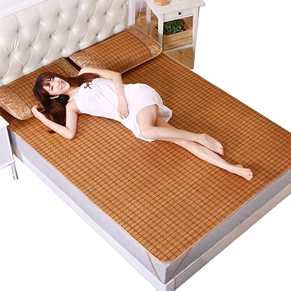 LIYONG Rattan Cooling Summer Sleeping Mat Rattan Double Sided Bamboo Foldable Mattress And Pillow Shams Set Size 0 9m