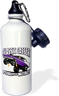 3dRose 56 Image in a Wheelie, Classic Gasser Text, Pedal to The Metal-Sports Water Bottle, 21oz (wb_173480_1), 21 oz, Multicolor