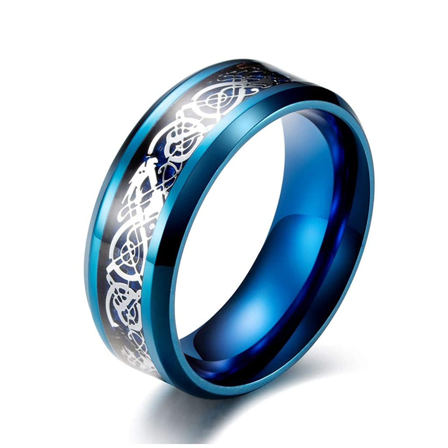 LEEYA NL12 8mm Tungsten Carbide Ring Silvering Celtic Dragon Blue Carbon Fibre Inlay Wedding Band Size 6-13 (12, Blue)