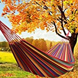 Dyna-Living Double <span class='highlight'>Hammock</span> 260cm x150cm 2 Person <span class='highlight'>Outdoor</span> Cotton with Carrying Bag for Camping Travelling <span class='highlight'>Garden</span> Patio Porch Yard Portable Canvas <span class='highlight'>Hammock</span> Capacity 660 LBS (Rainbow Stripes)